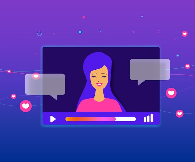 Video player window on social media. Premium Vector