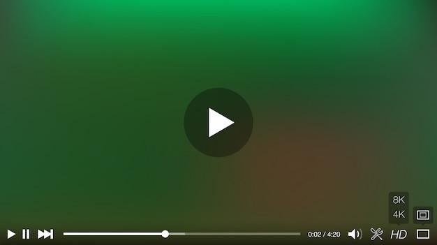 Окно видеоплеера с векторной панелью меню и кнопок