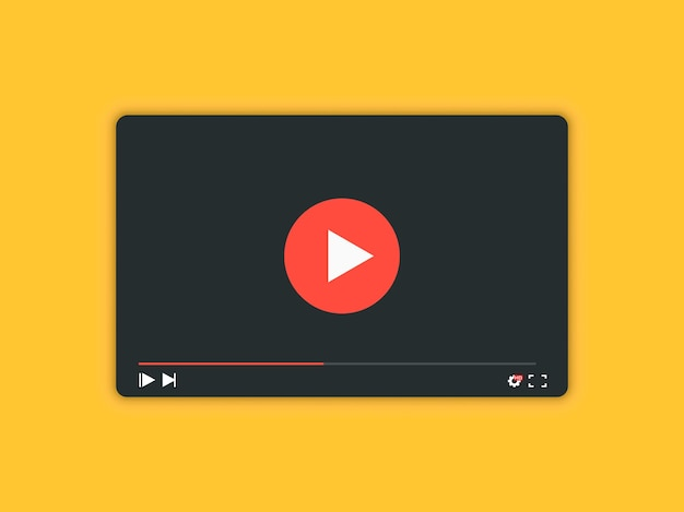 Video player with shadow for web and mobile apps. video player interface background - vector illustration