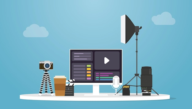 モダンなフラットスタイルのベクトルイラストを使用したカメラとツール製品のビデオ制作コンセプト