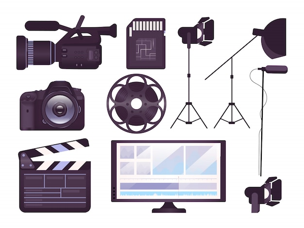 ビデオ制作機器コンセプトのアイコンを設定します。プロ用カメラ、下見板張り、映画リールステッカー、クリップアートパック。映画制作ツール。白い背景の上の漫画イラスト