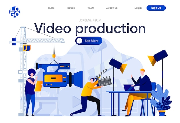 ビデオ制作のフラットランディングページ。ビデオカメラとスタジオイラストのアシスタントを持つオペレーター。人のキャラクターでビデオコンテンツのウェブページを作成するビデオ制作作業チーム