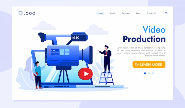 Video production landing page website illustration vector