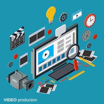 Video production, montage, footage editing flat 3d isometric concept illustration