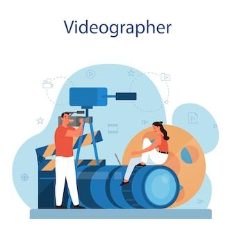 비디오 제작 또는 비디오 작가 개념. 영화 및 영화 산업. 특수 장비로 소셜 미디어 용 시각적 콘텐츠를 제작합니다.