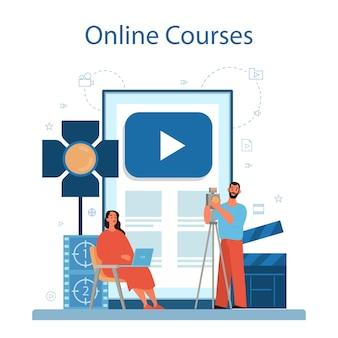 비디오 제작 또는 비디오 그래퍼 온라인 서비스 또는 플랫폼. 영화 및 영화 산업. 온라인 비디오 편집 과정.