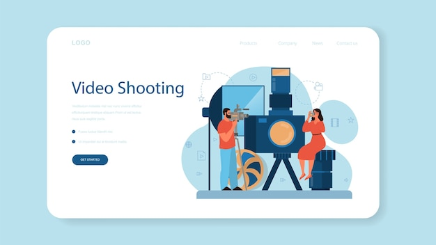 비디오 제작 또는 비디오 제작자 웹 배너 또는 랜딩 페이지. 영화 및 영화 산업. 특수 장비로 소셜 미디어 용 시각적 콘텐츠를 제작합니다.