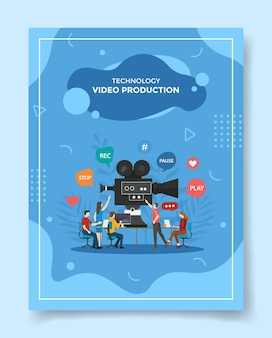 Video production people working together editing video for template of flyer
