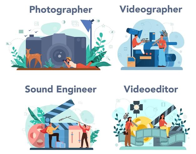 ビデオ制作、写真、サウンドエンジニアリングのコンセプトセット。メディアコンテンツ業界。特別な機器を使用してソーシャルメディアのビジュアルコンテンツを作成します。