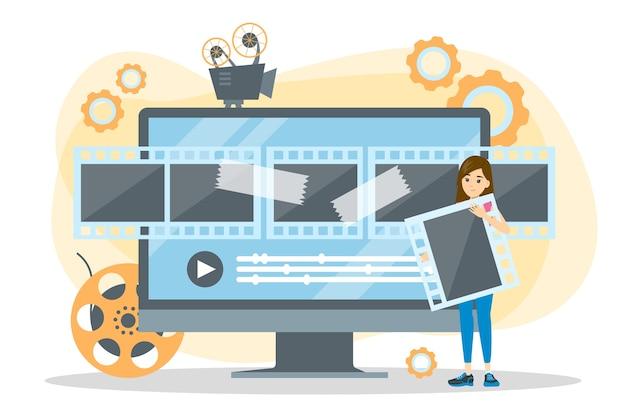 비디오 제작 프로세스 개념. 영화와 영화
