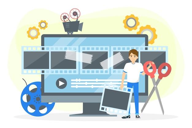 ビデオ制作プロセスのコンセプト。映画と映画
