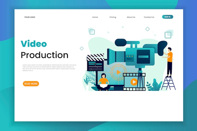 Video production vector illustration concept landing page template with character