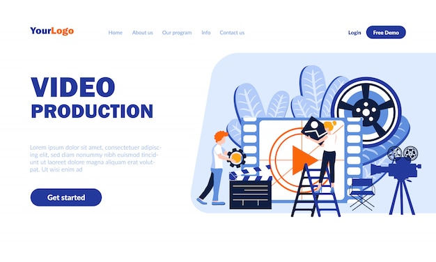 Video production vector landing page template with header