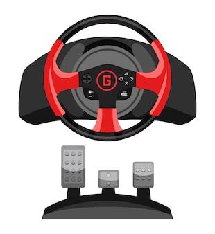 Игровой контроллер на рулевом колесе для видеогонок с педальным набором для игрового моделирования, изолированного на белом