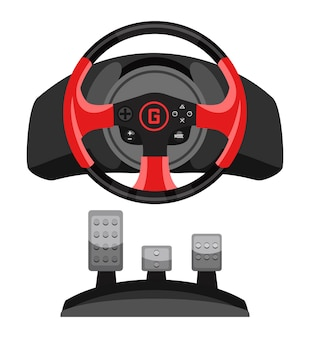 Video racing steering wheel game controller with pedal set for gaming simulation isolated on white