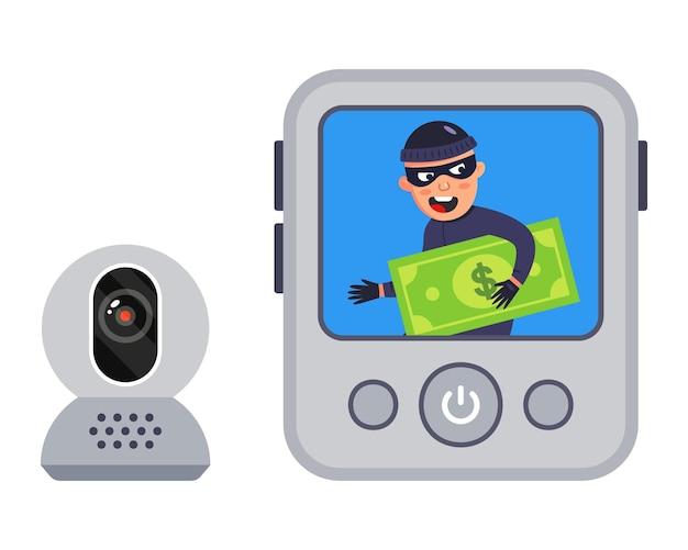 Видеозапись преступления. грабителя снимали на видео. иллюстрация.
