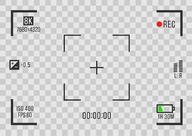 Экраны видеозаписи на прозрачном фоне Premium векторы