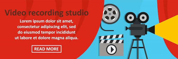 Video recording studio banner horizontal concept