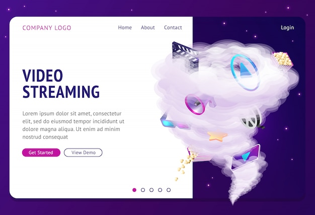 Pagina di destinazione del servizio di film su internet in streaming video