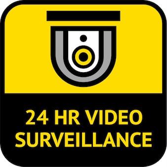 ビデオ監視、cctvラベルの正方形の形、ベクトル図