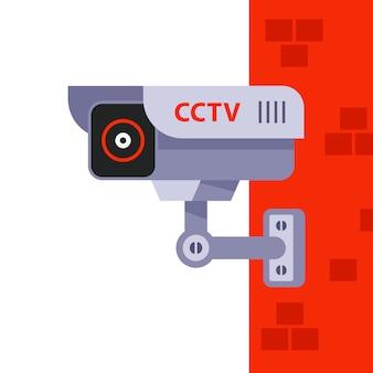 Видеонаблюдение на стене дома. скрытое наблюдение за людьми. иллюстрация.