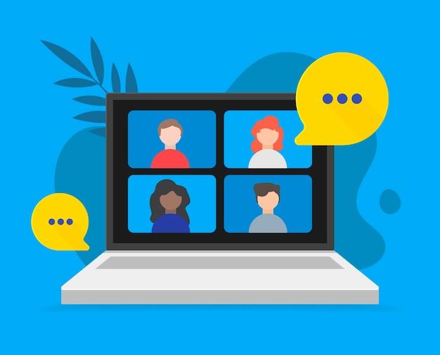 Видео-телеконференция и концепция удаленной онлайн-встречи. человек иллюстрации. группа людей аватар на экране портативного компьютера. для баннера, интернета, инфографики