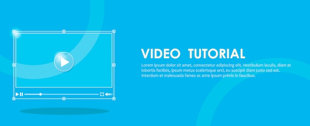 Video tutorial banner. hand pressing a computer.