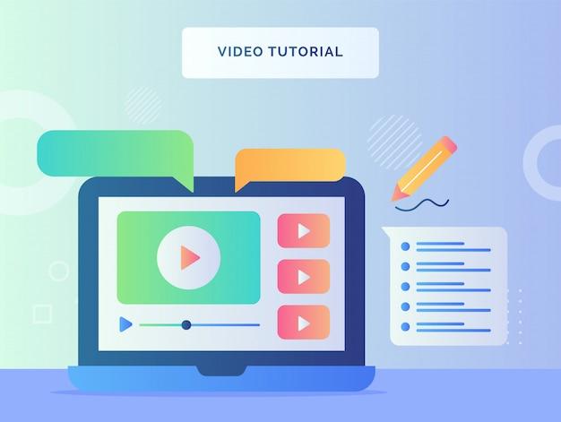 ノートパソコンの画面を表示するビデオチュートリアルのコンセプトで、ビデオの吹き出しをフラットスタイルで再生します。