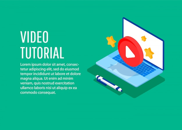 Video tutorial. conceptual illustration for web and graphic design, marketing.
