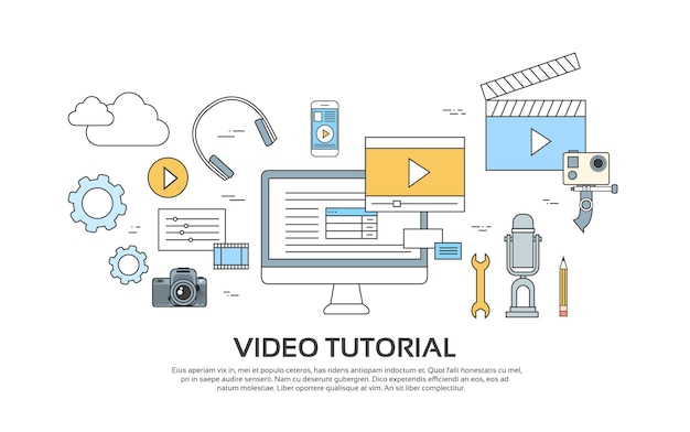 비디오 자습서 편집기 개념 현대 기술 설정 아이콘