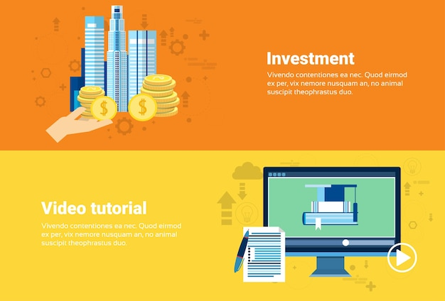 Video tutorial editor investment money modern technology web banner flat vector illustration