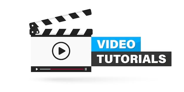 비디오 튜토리얼 아이콘, 엠블럼, 레이블, 버튼. 온라인 비디오 플레이어를 실행하는 clapperboard. 클래퍼 보드 비디오 플레이어의 영화 또는 온라인 영화 디자인. 비디오 편집자 또는 영화 제작. 온라인 시네마