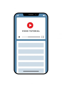 Video tutorial online education businessconcept template for mobile app