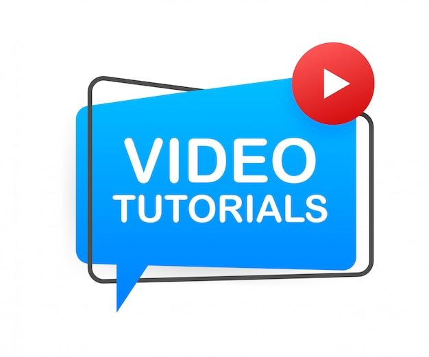 Концепция видео уроки значок. фон обучения и обучения, дистанционное обучение и рост знаний. видеоконференция и значок вебинара, интернет и видео услуги. иллюстрации.