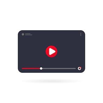 비디오 자습서 아이콘 개념입니다. 태블릿에서 화상 회의 및 웨비나. 템플릿 인터페이스 비디오 플레이어. 격리 된 흰색 배경에 벡터입니다. eps 10.