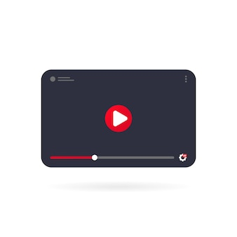 Video tutorials icon concept. video conference and webinar on tablet. template interface video player. vector on isolated white background. eps 10.