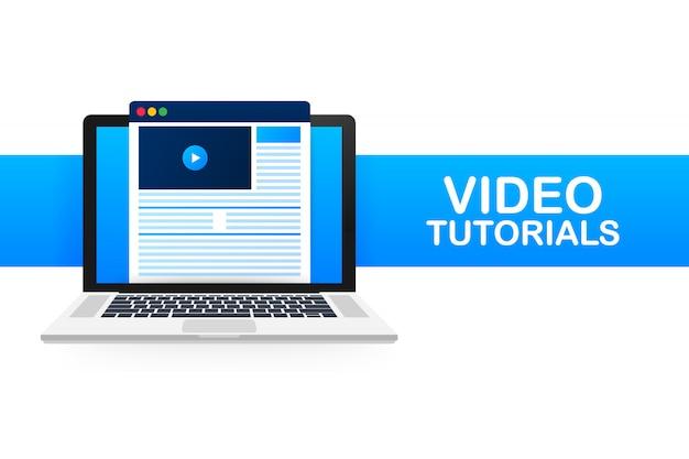 ビデオチュートリアルアイコン。研究と学習、遠隔教育と知識の成長。ビデオ会議およびウェビナーアイコン、インターネットおよびビデオサービス。図。