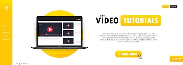 Видеоуроки иллюстрация или просмотр вебинара, потоковое видео онлайн на ноутбуке, вектор