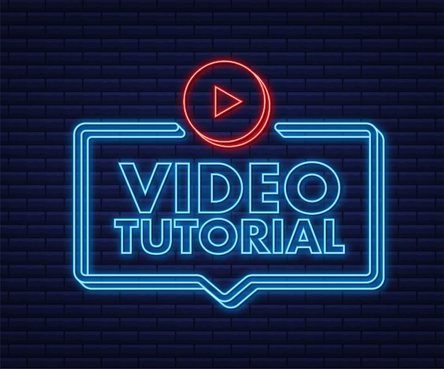 Video tutorials neon icon study and learning background distance education
