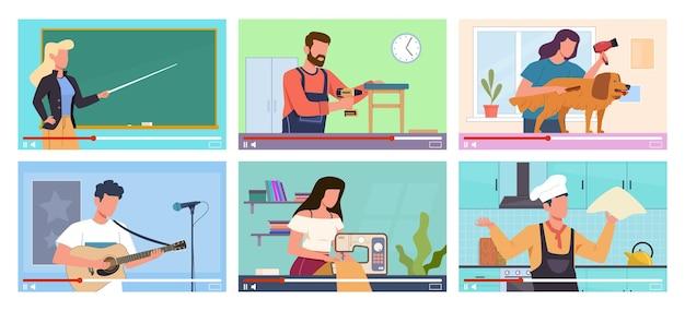 Видеоуроки. маркетинг в социальных сетях, компьютерное онлайн-обучение, интернет-образование, профессиональные блоггеры на экране компьютера. готовим, шьем или ремонтируем видеоблог, музыкальные обложки. векторный мультфильм концепция