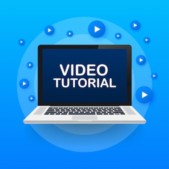 Video tutorials. study and learning background, distance education and knowledge growth. video conference and webinar icon.  stock illustration.