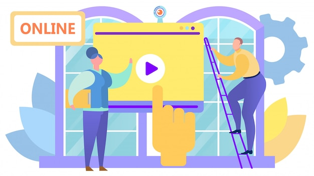 Video webinar in internet media,  illustration. play button on screen, online computer business communication technology.