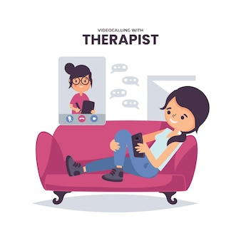 Videocalling with therapist concept