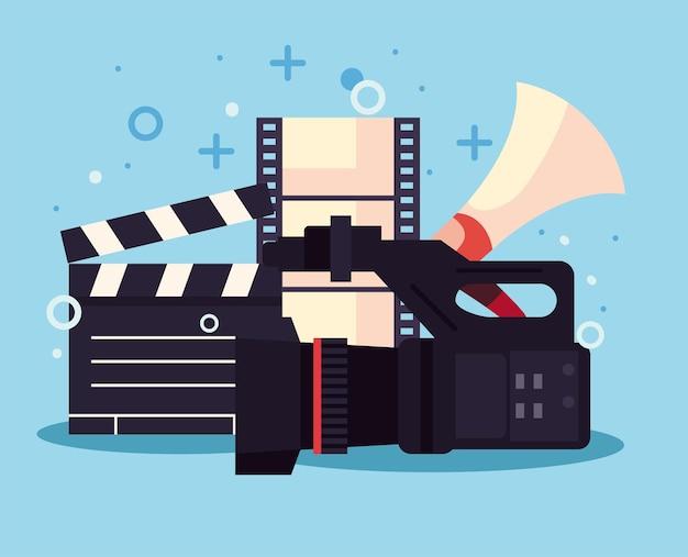 映画制作アイコン付きのビデオカメラ