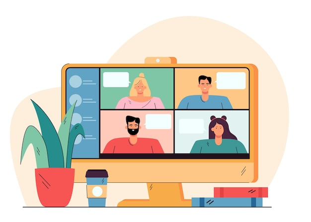 Videoconference with happy people on desktop flat illustration