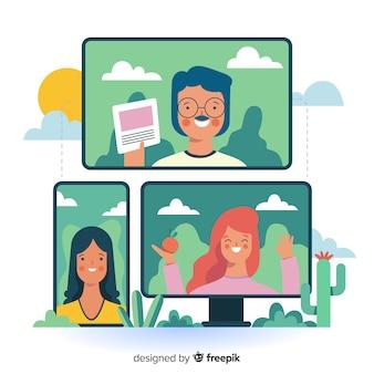 Videoconferencing concept for landing page