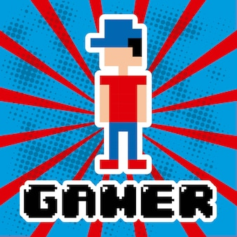 Videogame design over blue and red stripes background vector ill