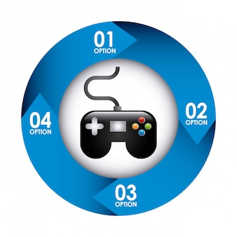 Videogame design over white background vector illustration