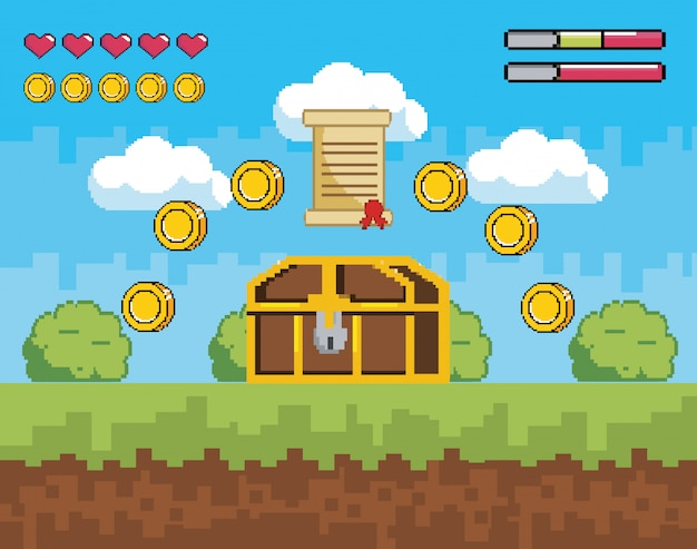 Videogame scene with coffer and letter with coins