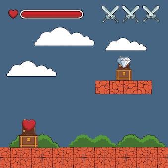 Videogame scenery cartoon